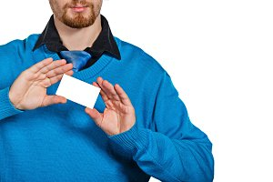 Businessman holding a business card
