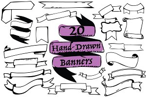 SALE! 20 Hand-Drawn Banners
