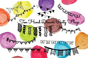 SALE! 10 Hand Drawn Party Flags