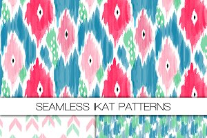 Three Seamless Ikat Patterns