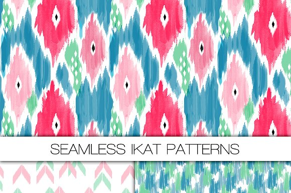 Three Seamless Ikat Patterns