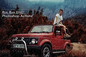 Real Rain Effect  Photoshop Actions