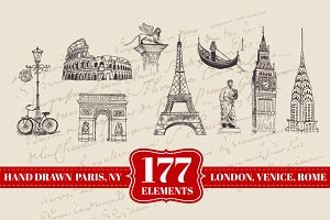 177 Hand drawn London, Paris & more
