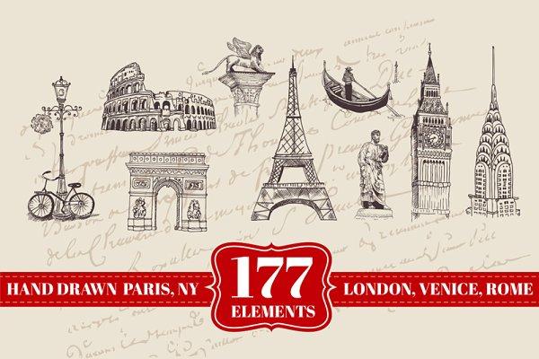 177 Hand drawn London, Paris & more