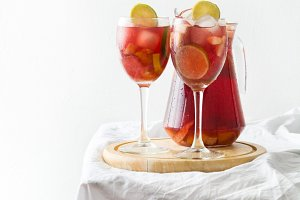 Summer sangria on a white tablecloth