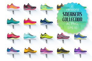 set of sneakers wear - vector