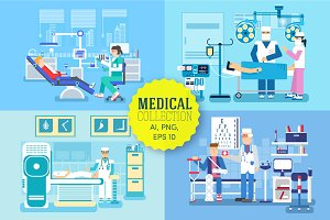 set of medical examination - vector
