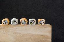 Sushi on a wood