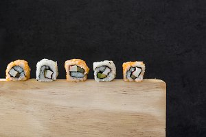 Sushi on a wood