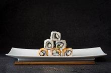 Sushi. Black background