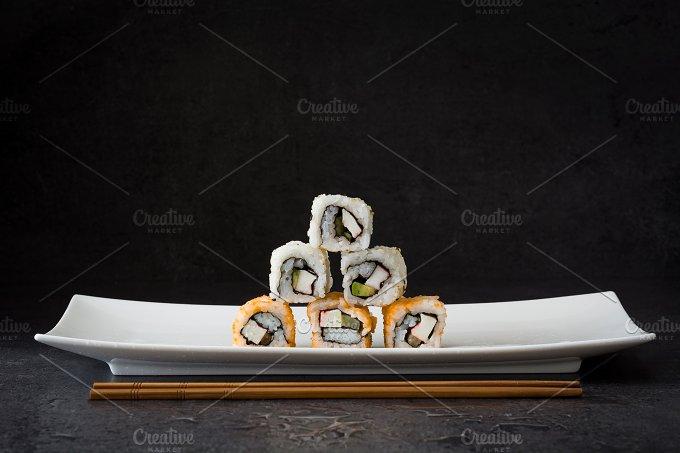 Sushi. Black background - Food & Drink