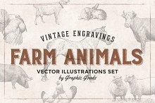 46 Farm Animals - Vintage Engravings