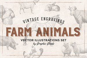 Farm Animals Engravings Set