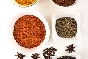 Spices and Herbs on white background