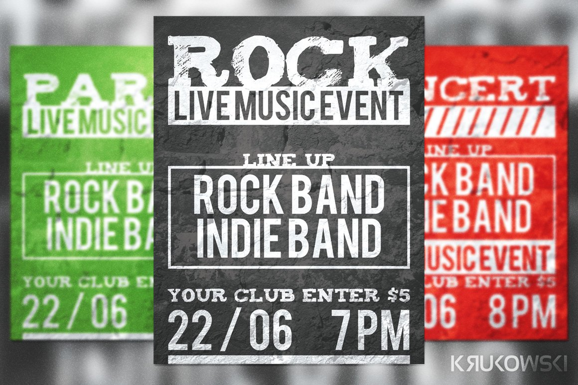 Live Rock Band Flyer Template ~ Flyer Templates ~ Creative Market