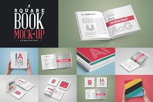 Square Book Mock-Up Set