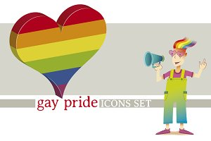Gay pride. Icons set