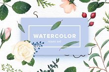 Watercolor Roses Set
