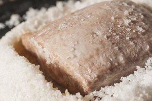 Pork tenderloin baked in salt