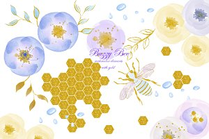 Watercolor clipart with gold. Bee