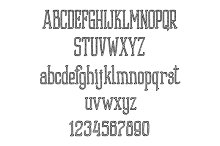 Retro font alphabet and numbers