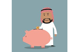 Arab businessman and piggy bank