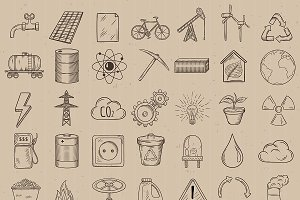 Set of industrial and ecology icons.