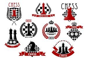 Chess game icons and symbols