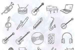 Set of hand drawn music icons.