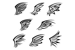 Black tribal wings tattoos
