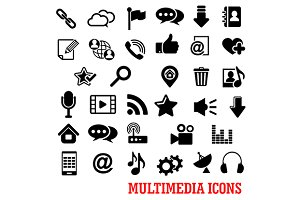 Multimedia and web flat icons