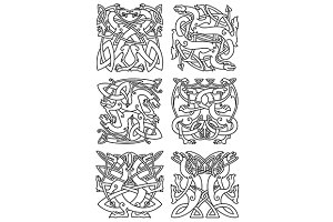 Celtic dragons knot ornaments