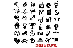 Sport and travel flat icons