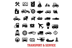 Transportation and car service icons