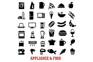 Food and home appliance flat icons