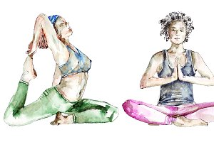 Yoga, watercolor painting