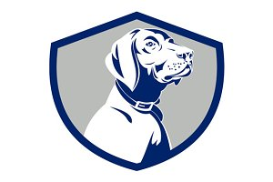 Dog Pointer Head Profile Side Crest