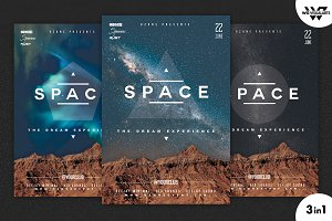 3in1 SPACE MINIMAL Flyer Template