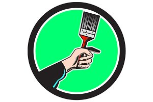 Painter Hand Holding Paintbrush