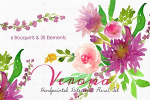 Verona - Watercolor Floral Set