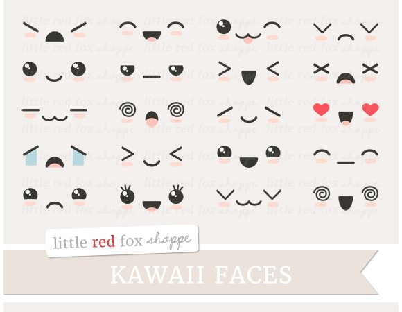 Kawaii face clipart illustrations creative market - Emoticone kawaii ...