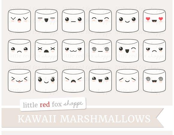 Kawaii Marshmallow Clipart ~ Illustrations ~ Creative Market