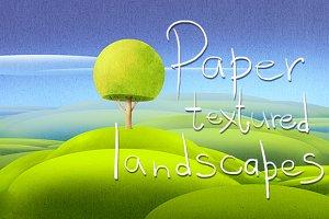 Paper textured summer landscape