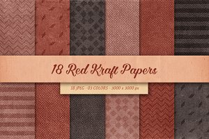 18 Red Kraft Papers