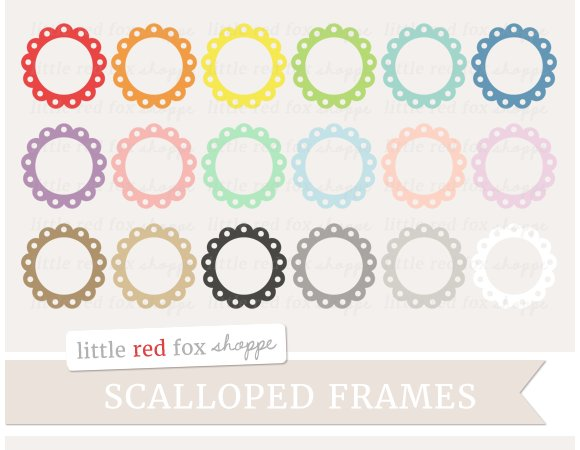 Scalloped Circle Frame Clipart Illustrations Creative