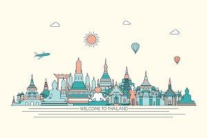 Thailand line art skyline