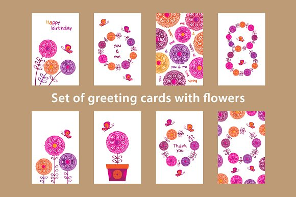 Greeting Cards Spring Flowers Postcard Templates Creative Market