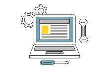 Web Development line icons flat