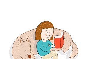 Girl, dog and book