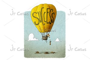 businessman in a balloon